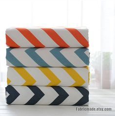 Canvas Cotton Large Chevron Fabric Chevron Zig Zags In Orange Blue Yellow On Off White Canvas-  1/2 Yard