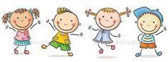 Four happy kids stock vector. Montessori Activities, Activities For Kids, Drawing For Kids, Art For Kids, Dancing Clipart, Friends Clipart, Image Svg, Kids Graphics, Music Illustration