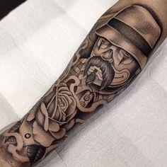 New tattoo Dad Tattoos, Family Tattoos, Forearm Tattoos, Tattoos For Guys, Cool Tattoos, Chicano Art Tattoos, Gangsta Tattoos, Body Art Tattoos, Day Of Dead Tattoo
