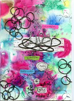 Messy Life art journal page featuring Scrap FX chipboard:  Life (messy), crazy circles. www.scrapfx.com.au