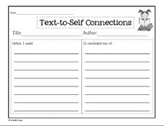 Making Connections (text-to-text, text-to-self, text-to-world ...