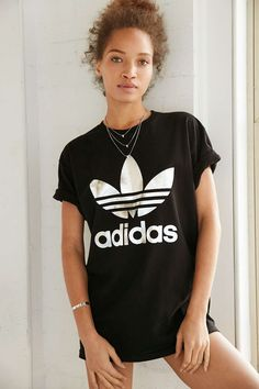 adidas Originals Silver Double Logo Tee - from Urban Outfitters
