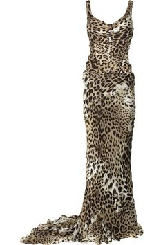 Leopard-print sheer silk-chiffon dress with designer stamp within the print. Roberto Cavalli dress has a boned bodice, ruched paneling at the bodice, exposed stitch detail on the fabric-covered boning, concealed underwired cups, exposed stitch detail at back, exposed zip fastening at back, has a train at back, and is fully lined. 100 silk; lining: 100% silk. Dry clean.