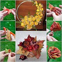 Large Christmas Wreath, Autumn Leaves Craft, Rose Basket, Autumn Rose, Modern Flower Arrangements, Rose Tutorial, Leaf Crafts, Rose Buds, Holiday Crafts