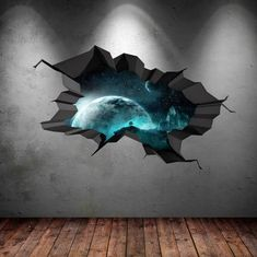 Items similar to Wall Decal Earth Moon Space Planet Galaxy Cracked Wall Sticker Stars Mural Decal Graphic Wall Art Boys Bedroom Wall Sticker on Etsy Wall Stickers Stars, 3d Wall Decals, Removable Wall Stickers, Wall Murals, Wall Art, Break Wall, Cracked Wall, Earth Design, Galaxy Painting