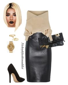 """""""Untitled #1716"""" by stylesbynickey ❤ liked on Polyvore featuring Moschino, ShoeDazzle, Nixon, Bling Jewelry and Gorjana"""