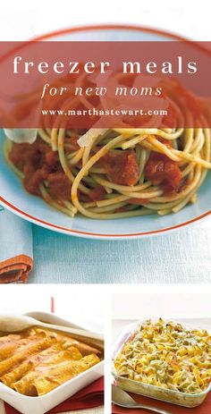 Freezer Meals for New Moms | Martha Stewart Living - The arrival of a new baby, whether it's the parents' first or their fifth, means that moms and dads have their hands plenty full even without worrying about getting dinner on the table. Give the gift of a well-stocked freezer to the new parents: Simply copy the reheating instructions (included in each of these recipes) onto a freezer label and affix to your special deliveries.
