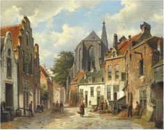 Willem Koekkoek (Amsterdam 1839-1895). Townspeople on a sunny Dutch street.