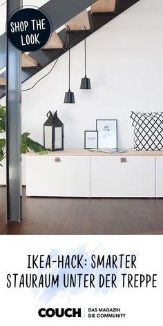 Ikea-Hack: So schaffst du mit Besta smarten Stauraum unter der Treppe! Ikea-Hack: How to create smart storage space under the stairs with Besta! Hemnes, Ikea Hack Besta, New Swedish Design, Decoration Entree, Kallax Regal, Apartment Hacks, Best Ikea, Stair Storage, House Stairs