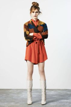 Orange pants, white top, fall patchwork scarf