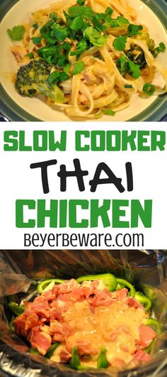 Slow Cooker Thai Chicken served with rice noodles or rice offers the peanut and cilantro flavors of pad thai with a hint of heat to your liking straight out of the crock pot. Slow Cooker Recipes, Crockpot Recipes, Chicken Recipes, Cooking Recipes, Thia Food, Crock Pot Cooking, Thai Cooking, Cooking Pork, Slow Cooker Thai Chicken