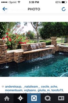Fountain/pool landscape backyard idea