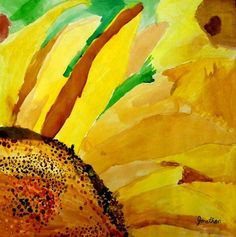 """Pinned as """"Sunflower"""" by Georgia O'Keeffe........No, This is a work created by Johnathon (signature on bottom right) in his 3rd grade art class!"""