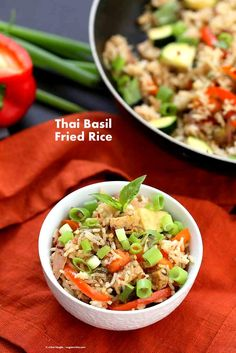 Vegan Thai Basil fried rice with veggies, marinated Tempeh and thai basil. How to make Thai Basil fried Rice. Ready in 30 mins Vegan Recipes Videos, Vegan Dinner Recipes, Vegan Dinners, Vegan Recipes Easy, Asian Recipes, Whole Food Recipes, Vegetarian Recipes, Thai Recipes, Vegan Ideas