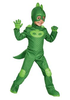 Just like Greg from PJ Masks, your child can take on the role of Gekko in the PJ Masks Gekko Classic Toddler Halloween Costume. Essential to the Gekko character, this full costume includes a green jumpsuit and matching hood and mask. Toddler Boy Costumes, Toddler Halloween Costumes, Halloween Kids, Costumes Kids, Popular Costumes, Trendy Halloween, Animal Costumes, Disney Costumes, Adult Costumes