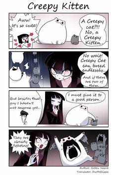 Flora just moved to an old house, but there's already a creepy cat living there. That's when their mysterious cohabitation began. Funny Horror, Horror Art, Cat Comics, Funny Comics, Creepy Cat, Creepypasta Cute, Kitten Images, Great Memes, Animal Sketches