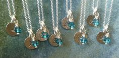 Bridesmaid Gift Set of 8 eight  Initial Necklaces  by SilverbyKeri, $166.00
