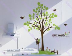 75 Happy graden decal :wall decals, vinyl wall decal, wall stickers,nursery wall stickers,tree wall decals,tree and birds wall art,
