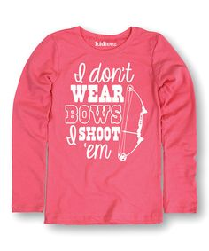 Loving this Raspberry 'Wear Bows' Long-Sleeve Tee - Girls on #zulily! #zulilyfinds