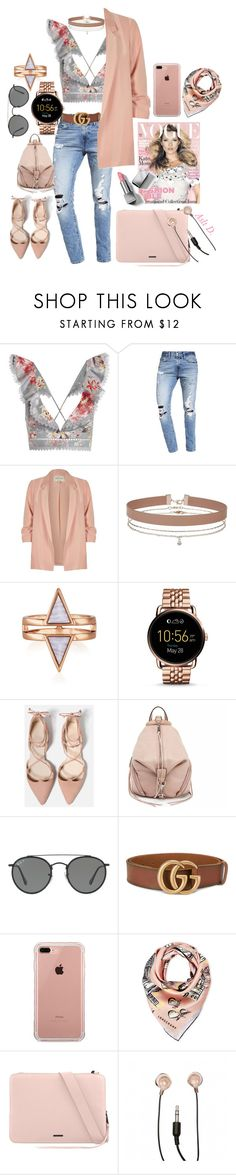 """My Friday"" by duydu-asli ❤ liked on Polyvore featuring Zimmermann, Abercrombie & Fitch, River Island, Miss Selfridge, FOSSIL, Rebecca Minkoff, Ray-Ban, Gucci, Belkin and Longchamp"
