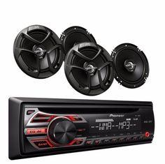 Pioneer-Car-Audio-CD-Radio-Player-4-JVC-Speakers-6-5-2-Way-300W-Remote-Control