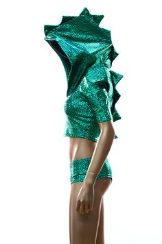 Green Holographic Dragon Spiked Sharp Shoulder Crop Hoodie & Ultra Cheeky Shorts Set Festival Outfit    -E8065