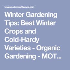 Winter Gardening Tips: Best Winter Crops and Cold-Hardy Varieties - Organic Gardening - MOTHER EARTH NEWS