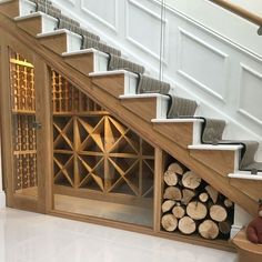 UNDER STAIRS WINE & WOOD STORAGE. Bespoke wine racking for under stairs wine storage, perfect for any home re-design or makeover! Made from hand in the UK using Pine, this wine cellar can store up to 350 bottles. Under Stairs Wine Cellar, Wine Cellar Basement, Space Under Stairs, Under The Stairs, Closet Under Stairs, Under Stairs Cupboard, Hall Closet, Staircase Storage, Storage Under Stairs