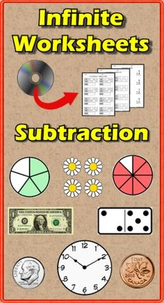 Tired of searching Google Images for free subtraction worksheets that are worth what you pay for them? Do you find those yearly subscription services are overpriced? Infinite Worksheets: Subtraction is the solution for you! This PC/Mac software gives you access to 134 unique subtraction worksheets: Speed Drills(10), Computation(10), Picture Addition(23), In/Out Boxes(12), US & Canada Currency(10), Telling Time(18), Fractions(3), Skip Counting(20), Inequalities(14) and Decimals & Money(14) ($)