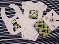 Baby shower gift set - personalized golf bib, burp cloth & bodysuit set #Babygifts #Handmade