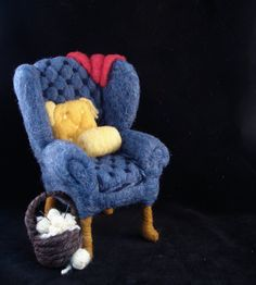 Needle Felted Blue Knitting Arm Chair - Arm Chair Adventures NeedleFelted Soft Sculpture by Bella McBride. $89.00, via Etsy.