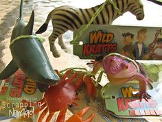 Wild Kratts invitations....could turn into party favor...animals from dollar store