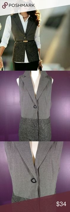 Lovely Vintage cabi Fall 14 Sleeveless Blazer NWT It's a dazzler! Vintage cabi Fall 2013 Sleeveless  Blazer #518 ♥ Brand New w/tag! Classic heathered black & grey lined blazer/vest with chunky center button closure. A must have to add glam to your wardrobe! Hard to find size! Dress up for a night on the town or dress down with jeans.   Fabric: 63% Polyester - 32% Viscose -5% Spandex  Garment Care: Dry Clean   ♥ Please visit my closet again soon - lots of excellent deals on minty condition…