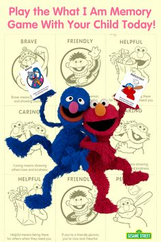 "Play the cute ""What I Am"" memory game with your child by cutting & coloring the cool cards featuring Elmo and friends at Sesame Street. Download this creative activity & more: http://www.sesamestreet.org/challenges."