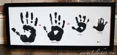 Family Handprint picture ....add who's handprint it is and the date of the print ....great way to keep memory of your family @ a certain point   Let's Craft: Family Hand Print Gift for Mom | ModernMom.com
