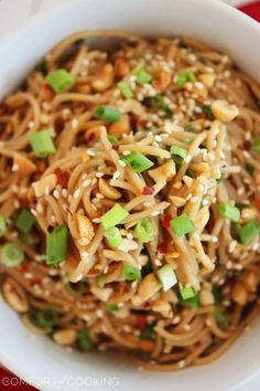 Simple Asian Soy-Peanut Noodles - we have made these TWICE this week - we cant get enough of them! The original recipe was a little too salty for me so we added extra honey and peanut butter ... SO Delicious!!