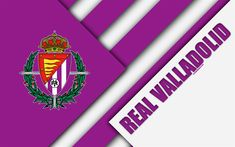 Download wallpapers Real Valladolid CF, 4k, material design, Spanish football club, purple white abstraction, logo, Valladolid, Spain, Segunda Division, football