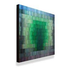 "Moran Brown metal wall sculpture.  ""Emerald Fluorite"", 39""h x 46""w, painted aluminum"
