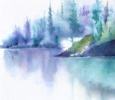 Turquoise Wall Art Watercolor Print, Mountain Landscape, Mountain Decor, Turquoise Watercolor Painting, Relaxing Art Print, Lake Print,8x10+ #LandscapeWatercolor