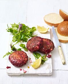 Vegetarian burgers made with beetroot and feta are delicious and nutritious. Quick, easy and under £5 – this recipe is great for a mid-week dinner.