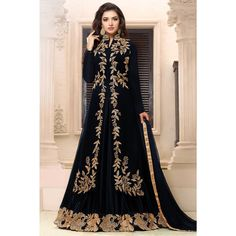 Online shopping navy blue georgette anarkali churidar suit embroidered costume now in shop. Andaaz Fashion brings latest designer ethnic wear collection in US