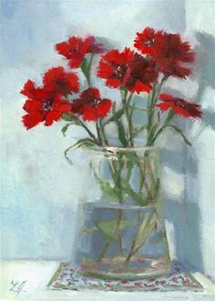 "Daily+Paintworks+-+""Dianthus+Glowing+in+Red""+-+Original+Fine+Art+for+Sale+-+©+Linda+Jacobus"