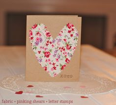 simple handmade card for Valentine's Day - fabric + pinking shears + letter stamps