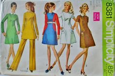 Simplicity 8381 Women's 60s Mini Dress or Tunic & Pants Sewing Pattern Size 12, Bust 34
