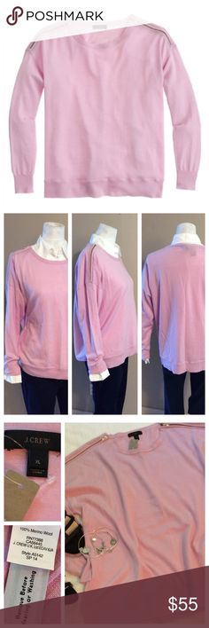 J. Crew Merino Wool Sweater Dusty pink sweater in super soft merino wool. Gold zippers at shoulders, ribbing at waist and cuffs. Crew neckline. J. Crew online exclusive; sold out. Excellent NWT condition. FUN FACT: gray color was worn by Meredith on Grey's Anatomy! J. Crew Sweaters Crew & Scoop Necks