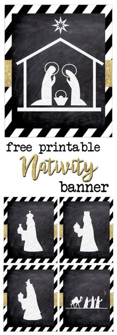 Print this silhouette banner for some easy and cute Christmas decor. These chalkboard nativity signs with gold embellishment are classy and fun. Christmas Door Decorations, Christmas Banners, Christmas Nativity, Christmas Art, Christmas Projects, Christmas Holidays, Christmas Concert, Christmas Background, Christmas Activities