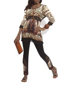 Look at this Love The Queen Black Lace-Trim Tunic
