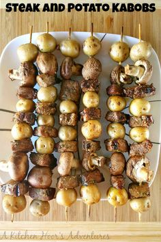 Steak and Potato Kabobs Beef Recipes, Cooking Recipes, Fun Recipes, Chicken Kabobs, Angus Beef, Cooking On The Grill, Healthy Dinner Recipes, Steak