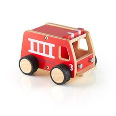 The super-tough Fire Engine is a great addition to any classroom or playroom. Featuring durable plywood construction, bold colors with natural accents, and rubber, non-skid wheels, this vehicle was de