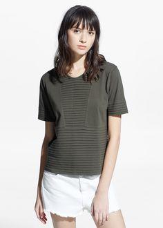 T-shirt met geplooid pand